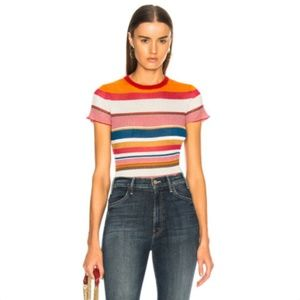 NWT $325 RAG & BONE multicolor striped Tee SZ L/G